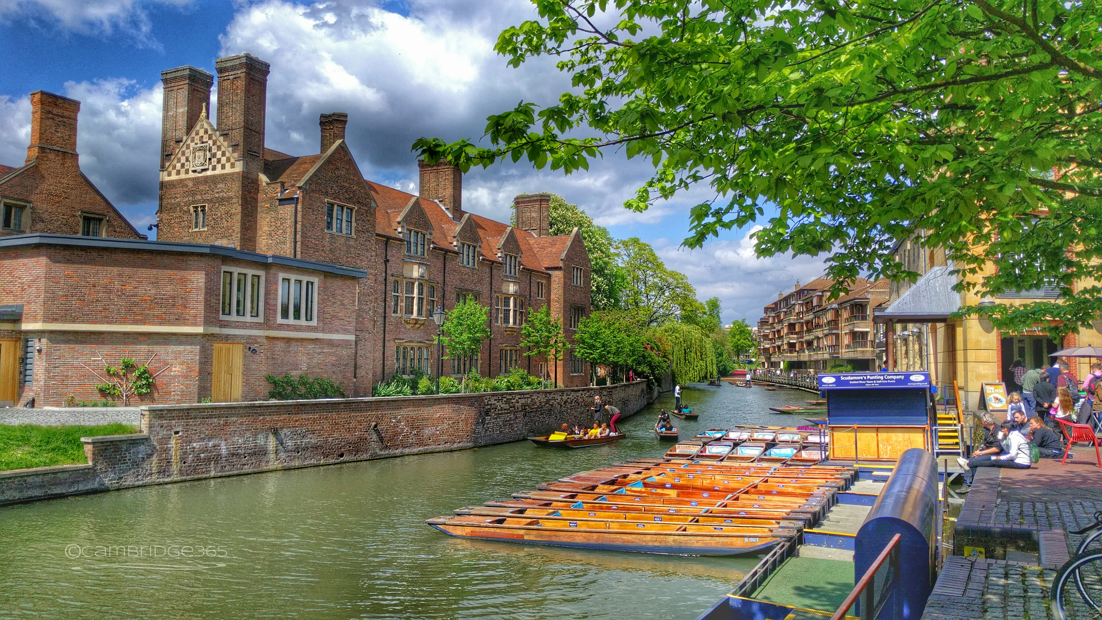 Magdalene College, Cambridge as seen from Quayside on the opposite bank of the River Cam